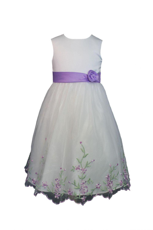 Eisend Blumenkind Kinder Mädchen Fest Kleid Lila Blümchen