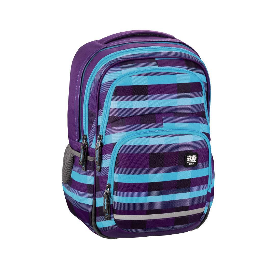 All Out Rucksack Blaby Summer Check Purple