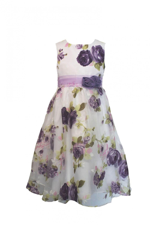 Blumenkind Mädchen Kleid festlich Lila Rosen