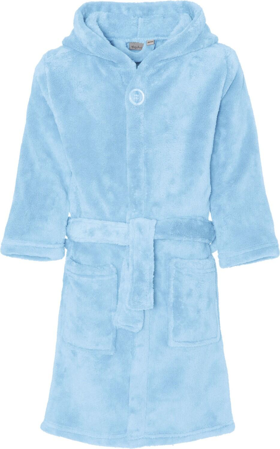 Kinder Bademantel Fleece uni hellblau