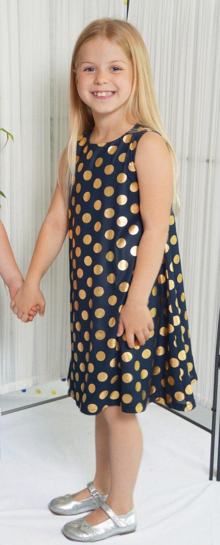 Cadeau Kinder Mädchen Kleid festlich Gold-Punkte