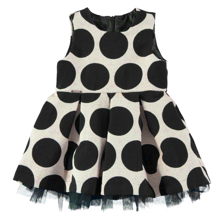 Sarabanda Kinder Kleid festlich Punkte schwarz-weiß