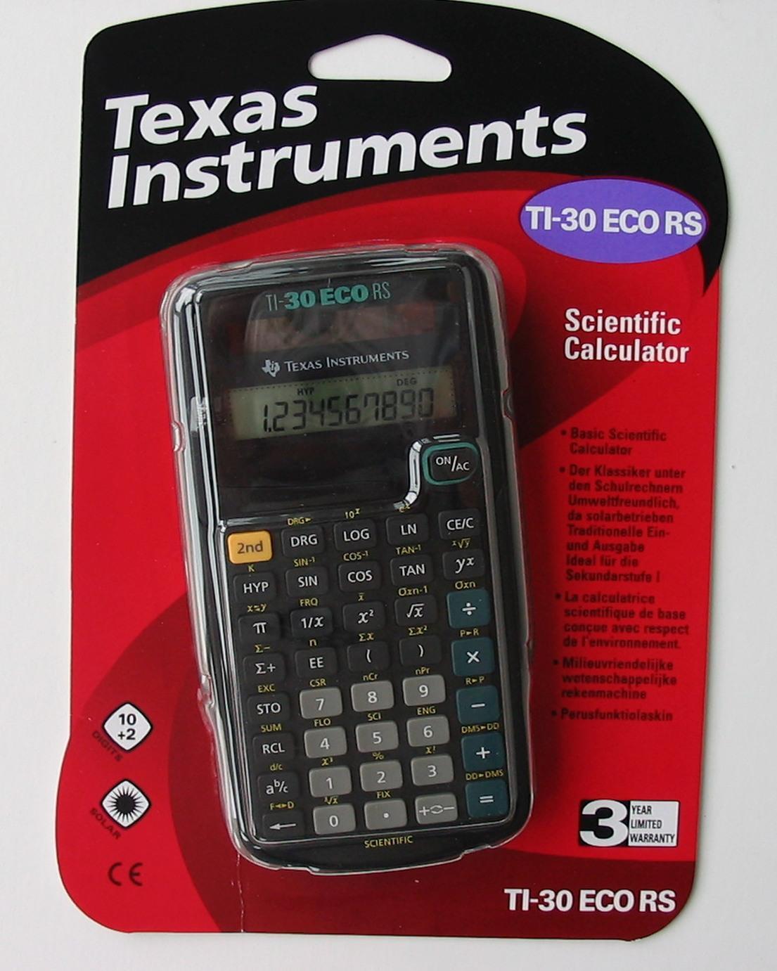 Texas Intruments Ti 30 Eco Rs Schul Taschenrechner