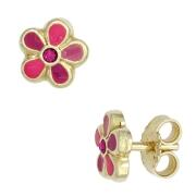 Kinder Ohrstecker Gold Blume pink