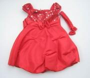 Shari Girl festliches Babykleid mit Paillettenoberteil rot